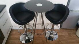 Black glass table dining set