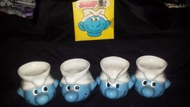 Genuinely rare 3 smurf mugs and milk jug '80 sign Peyo £40 for all read blw