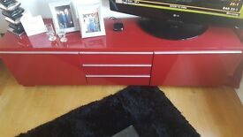 Red high gloss tv unit