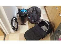 Graco trilogy child car seat + base and free baby cot