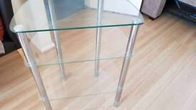 Glass& chrome display shelves
