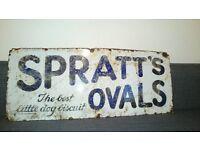 Vintage 1930s Enamel Spratts Ovals The Best Little Dog Bisquit Sign.
