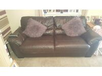 Brown leather 3 seater sofa with two reclining chairs