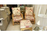 Conservatory furniture set inc 2 chairs, 1 footstool, 1 table (american oak cane, crowson fabric)