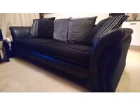4 and 3 seater dfs sofas with free black glass tv table and pine coffee table.