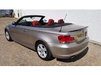 2008 BMW 1 Series 118d Convertible Auto Only 66,000 Miles Red Leather Rare Example