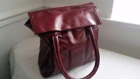 Burgundy faux leather square handbag - brand new