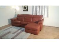Ex-display Natuzzi Editions Sensor brown leather electric recliner chaise sofa