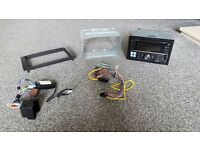 Alpine double din radio , bluetooth , usb , aux, wiring loom and steering wheel loom for ford focus