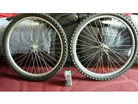 "2x 24 "" front mountain bike wheels plus spare inner tube"
