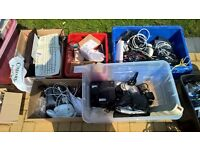 Selection of computer and electrical equipment - cables keyboard mouse printer phones speakers