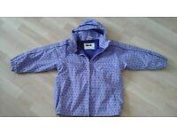 girls warm rain jacket, purple, size 6 years