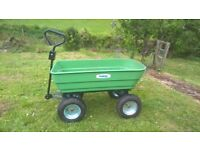 Dump cart / truck /trolley with 4 wheels for garden use or small construction site work