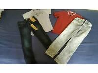 Boys polo shirts and skinny jeans bundle Age 6