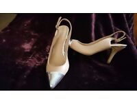 Size 4 sling back shoes 3 in heel with silver toe