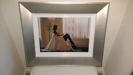 Framed Jack Vettriano print, In Thoughts of You.