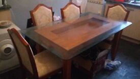 Wood and glass table with 4 chairs