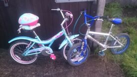 2 bicycles for a boy and a girl up to 5 - 7 years old