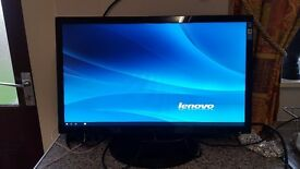 Hanns-G HE247DPB 24 inch widescreen Full HD PC Monitor built in speakers power cable and VGA cable