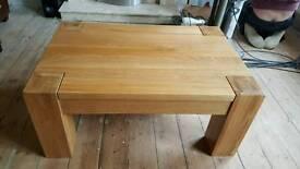 Solid oak coffee table.