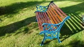 Cast iron garden bench, 4 foot long, refurbished.