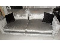 3 seater silver crushed velvet sofa only 2 weeks old