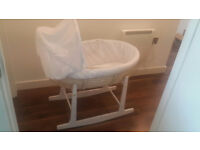 Sparingly Used Full Set Natural Palm Moses Basket With Mattress,Bedding sets,and Rocking Stand
