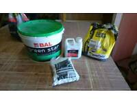 Electric tile cutter saw and adhesive grout etc