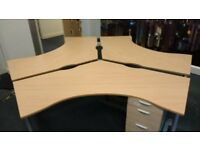 Office set of 3 large Connected Desks with pedestals ***Collection Only***