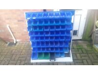 Workshop / Garage Plastic Bin Storage Rack new boxed and 76 used Bins Lin Bin