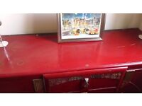 Dark Red Retro & Gold Japanese Chest of Drawers/Cupboard