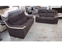 BRAND NEW ScS SiSi ITALIA MATTEO GREY & CREAM FABRIC 3 Seater & 2 Seater Sofas CAN DELIVER