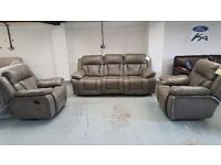 NEW ScS KENNEDY LEATHER 3 SEATER POWER RECLINER & 1 POWER RECLINER & 1 ROCKER RECLINER ARMCHAIRS