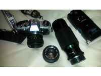 olympus om10 35mm slr film camera with lenses