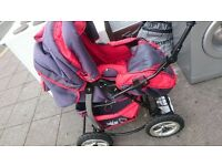 WOZKO LAND PRAM IN EXCELLENT CONDITION WITH BIG WHEELS