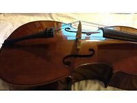 4/4 Stentor Student 1 Cello with full accessories (case, bag, bow, spike holder, stand, etc.)