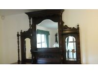 LARGE VICTORIAN MIRROR BACKED MAHOGANY SIDEBOARD