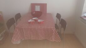black kitchen table, chairs ans accessories