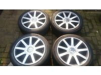 18 RS4 MULTIFIT ALLOY WHEELS 5 X 112 100 VW PASSAT T4 TRANSPORTER VITO CADDY VAN SKODA 7MM TYRES
