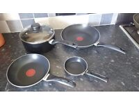 Tefal Premium Non-stick Cookware Set, 5 Pieces - 3 frypan, 1 saucepan and 1 glass lid