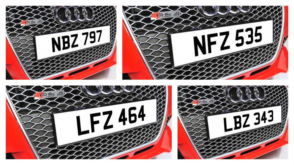 LBZ 343, LFZ 464, NBZ 797, NFZ 535, Dateless Personalised Number Plate Audi BMW Volvo Ford Evo Subar