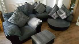 3 Pc Suite Grey Black IMMACULATE Swivel Chair Grey/Black