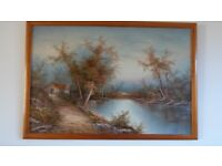 Beautiful LARGE Original Landscape Oil Painting Signed CAFIERI 97Cm X 66cm