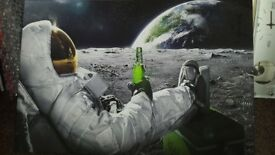 Canvas picture. Large space man with beer 20 x 30 inch