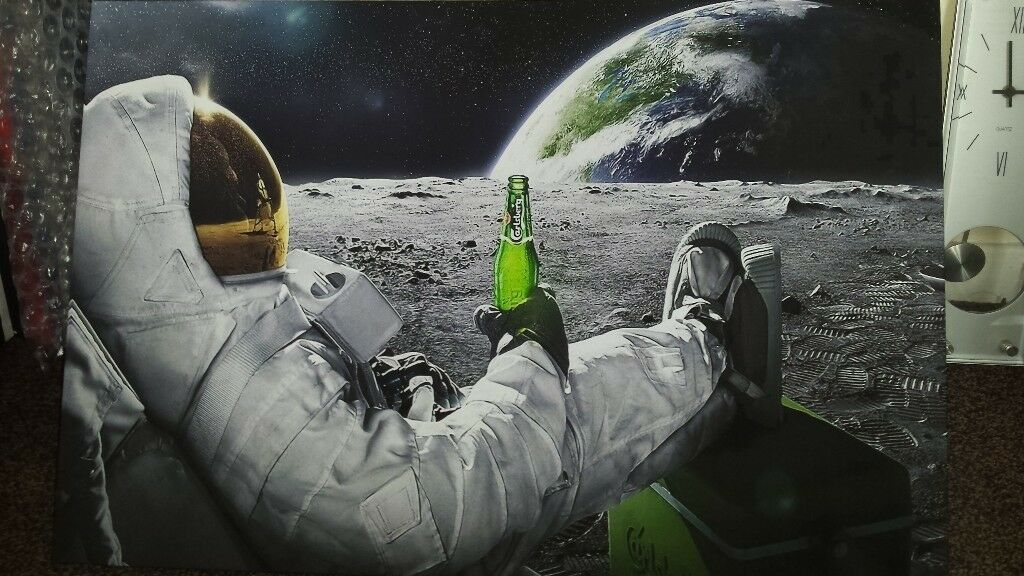 Canvas Picture Large Space Man With Beer 20 X 30 Inch