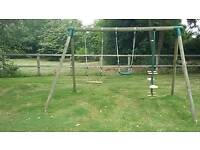 Swing set with 2 swings and 1 glider swing