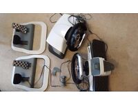 2 OFFICIAL Xbox 360 Force Feedback Wireless Steering Wheel, Pedals, one Clamp £40