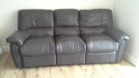 3 Seater Brown leather sofa For Sale