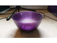 Great condition decorative glass bowl in purple and silver