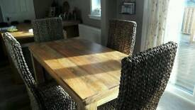 5ft Mango dining table and 4 chairs